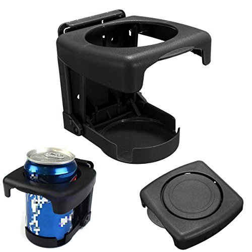 Yosoo Car Vehicle Truck Hard Plastic Folding Beverage Drink Bottle Can Cup Holder Stand Mount (Black)