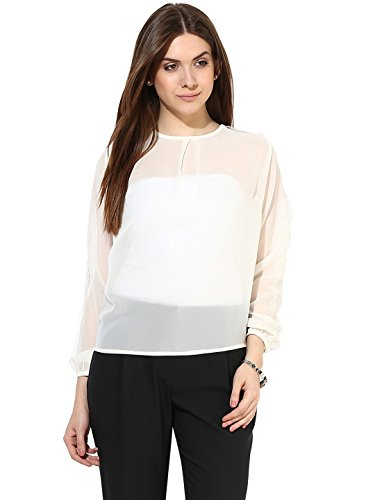 White Formal Top With Net on Sleeves By Magnetic Designs  Amazon in   Clothing   Accessories. White Formal Top With Net on Sleeves By Magnetic Designs  Amazon