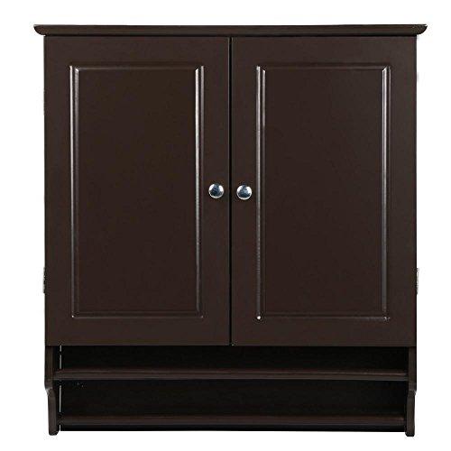 Yaheetech Bathroom/Kitchen Wall Mounted Cabinet Double Door & Hanging Bar Storage Cupboard, Espresso (Coffee Bar Storage compare prices)