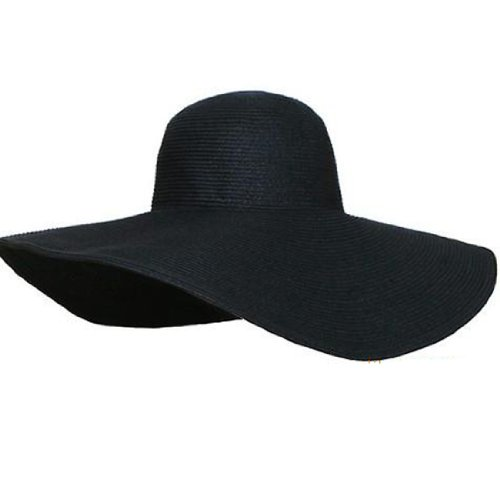 Women Candy Color Wide Large Brim Folding Summer Sun Hat Straw Beach Cap (Hat Diameter:  48cm