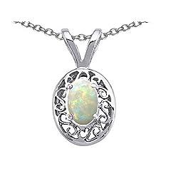 Tommaso Design 7x5mm Oval Genuine Opal Pendant in 14 kt White Gold