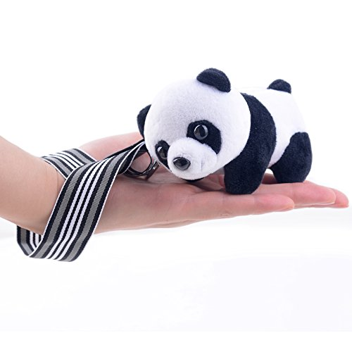 Black and White Chinese Panda Stuffed Animal Plush Keychain Dolls Toys (Black)