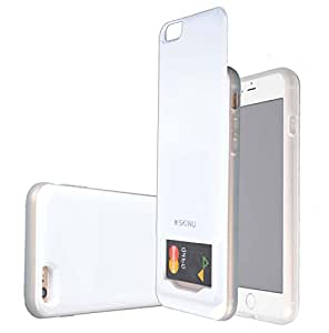 SKINU iPhone 6s Plus Case Credit Card [Drop Protection] [Dual Layer] [Slide Pocket] Protection Cover 3 Credit Cards Case for iPhone 6 Plus (Slide - White)