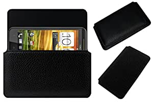 Acm Horizontal Leather Case For Htc One Xc Mobile Cover Carry Pouch Holder Black