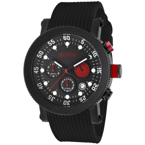Red Line Compressor 18101VD-01RD1-BB 45mm Stainless Steel Case Black Rubber Mineral Men's Watch