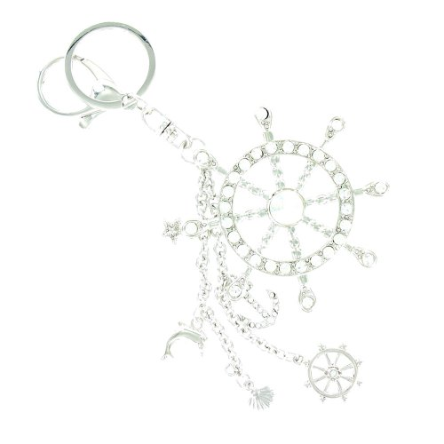 Clear Crystal On Silver Plated Buoy Nautical Sailor Keyring / Handbag Charm front-702041