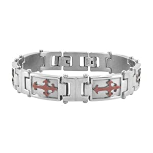 Inox Jewelry PVD Treated Cuppuccino Steel Crosses on Silver Steel with Bracelet For Men available at Amazon for Rs.3055