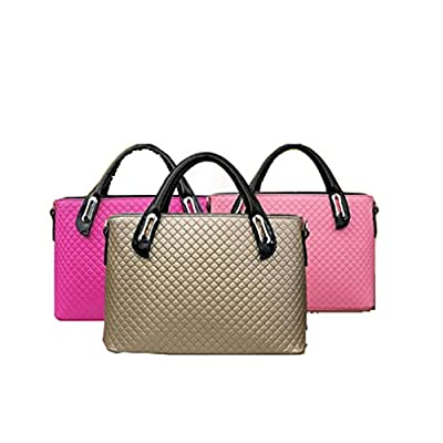FAIRYSAN 3-in-1 Rhombus Leather Handbag Messenger Tote Bag for Ladies + Small Wristlet + Bear Key Chain in Blue