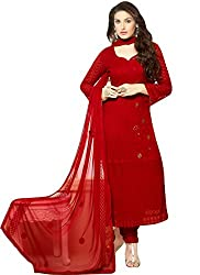 Meet Enterprise Designer Red Chiffon Dress Material