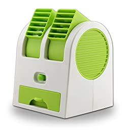 New Frabgrance Adjustable Angles Dual Air Outlet Fan USB Electric Air Conditioning Fan Cooling Desktop Portable Bladeless Blower Mini Cooler Fan with USB Socket Battery and Safety Switch Chip (Green)