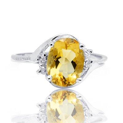 100% Genuine Nature Citrine 925 Sterling Silver 18K 18CT White Gold Plating Ring Gem Fine Jewellery