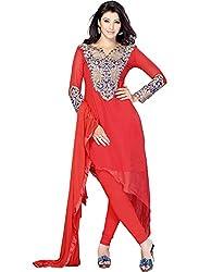 Kashish Lifestyle Women's Bamber Foliage Churidar Suit ( SFPRIYAM505-Light Red-Free Size)