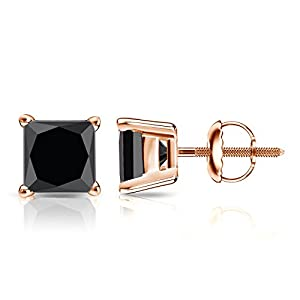 14k Rose Gold Princess-cut Black Diamond 4-Prong Basket Stud Earrings (4 ct, Black)