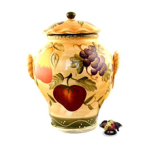 Tuscan kitchen canister sets large cookie jar fruit decor tuscany fruit from ack - Decorative fruit jars ...
