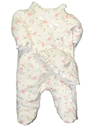 Girls Vintage Rose Baby Footie and Cap Set by Little Me - Off-White - 9 Mths