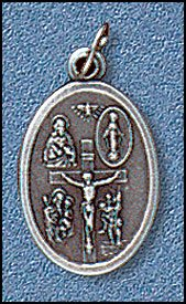 100 Piece Pack, Patron Saints Medals, 4-Way (St. Christopher, Crucifix, Jesus, St. Mary-Miraculous, St. Joseph) Round with