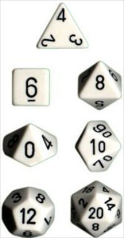 Chessex Manufacturing 25401 Opaque White With Black Polyhedral Dice Set Of 7 - 1