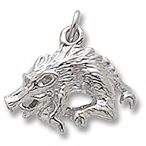 Amazon com wild boar charm in sterling silver charms for bracelets