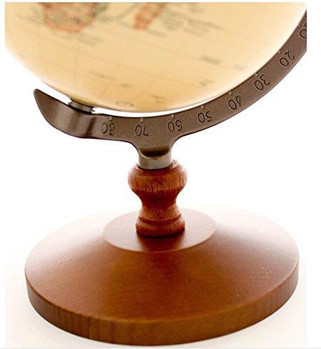 "KiaoTime Vintage World Globe Antique Decorative Desktop Globe Rotating Earth Geography Globe Wooden Base Educational Globe Wedding GIFT 8.25""x 5.75"" 4"