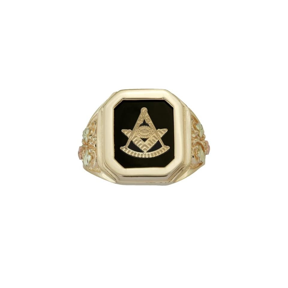 Black Hills Gold Masonic Past Grand Master Ring with Onyx from Coleman