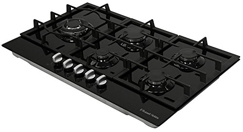 Russell Hobbs 86cm wide 5-burner black glass, gas hob, RH86GH701B
