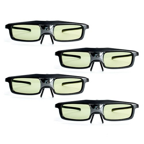 3D Glasses, GMYLE (TM) Black 144 Hz 3D Active Micro USB Rechargeable Shutter Glasses for Mitsubishi, Samsung, Acer, BenQ, Optoma, Dell, Vivitek, NEC, Sharp, ViewSonic DLP-Link Projector and 3D Ready DLP HDTV (4 Pairs)