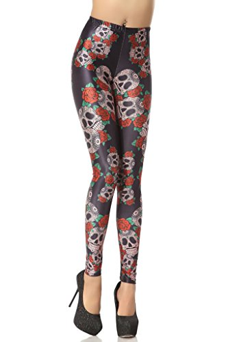 [Black Friday Sale]Roko Fashion Skull With Flower Black Leggings Pants Pants,L Size