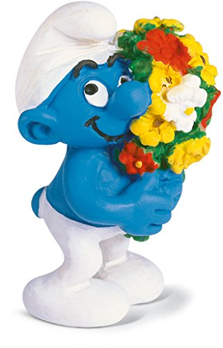 Schleich Smurf Figure with a Bouquet of Flowers - 1
