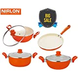 Nirlon Ceramic Coated Non-Stick Kitchen Essentials With Glass Lid | Best Ceramic Cookware Set | Flat Tawa 26Cm | Deep Kadhai 2.4Ltr | Deep Kadhai 3Ltr | Deep Casserole 3.6Ltr