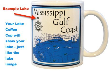 Sugar - 1010 in Wright, MN - Ceramic Coffee Mugs 11oz Set of 4 - Nautical chart and topographic depth map. (1010 Wi compare prices)