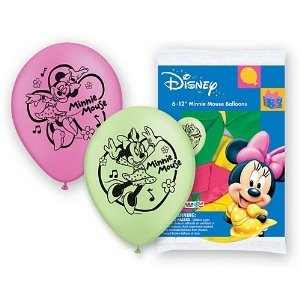 Minnie Mouse Printed Latex Balloons Package of 6 - 1