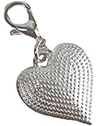 Silver Heart Clip-On Lobster Clasp Charms 1-1/4 Inch Lot Of 20 Charms