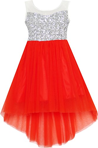 HK34 Girls Dress Sequin Mesh Party Wedding Princess Tulle Red Size 12