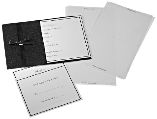 Wilton 1008 1617 black glitter pocket invitation kit 25 for Www wiltonprint com templates
