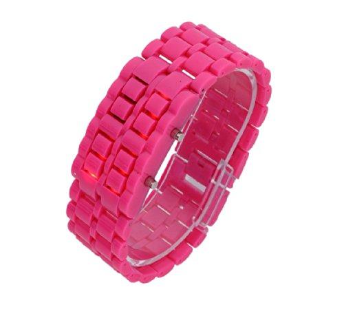 Baolihao Digital Lava Style Iron Sport Unisex Red Led Faceless Wrist Watch Peach Wth0312