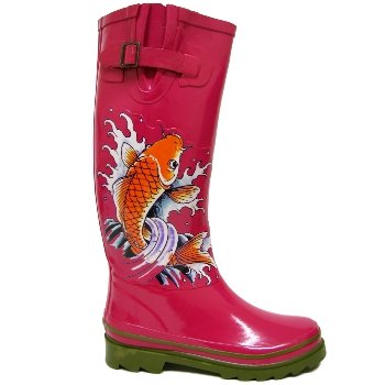 Womens Hot Pink Fish Festival Ladies Wellies Wellington Boots
