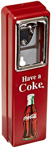 Tablecraft Coca Cola 10 1/2 Inch Wall Mountable Chrome Plated Metal Bottle Opener with Cap Catcher