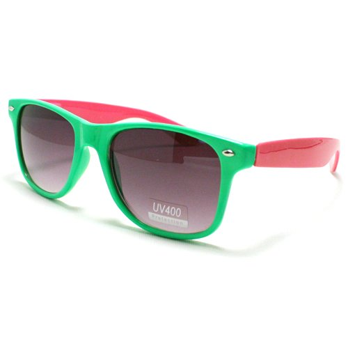 Green And Pink Colorful Two Tone Neon Wayfarer