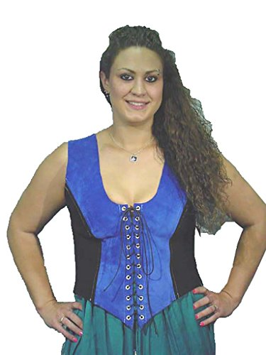 Black and Blue Suede Leather Fitted Bodice. Size 18