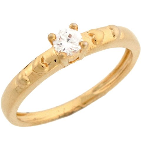 14k Yellow Gold Round CZ Promise Ring With Heart Detail On Sides