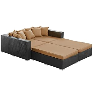 LexMod Palisades Outdoor Wicker Patio Daybed 4 Piece Set in Espresso with Mocha Cushions from Lexington Modern Outdoor