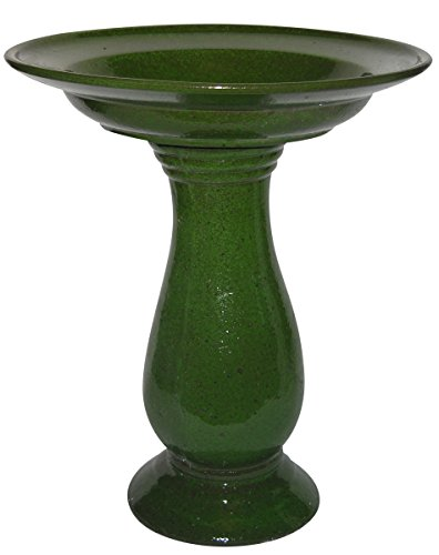 Benzara Ceramic Bird Bath, Moss Green
