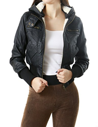 Zip Up Stylish Faux Leather Bomber Jacket with Hoodie for Women (LARGE, BLACK-63430)
