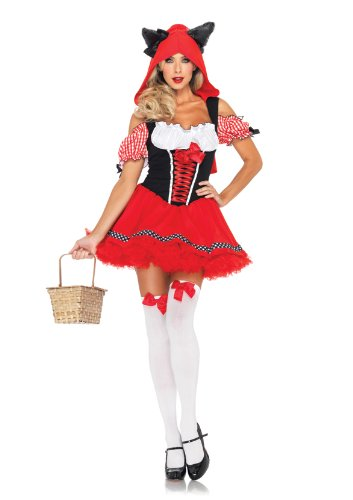 Leg Avenue Women's Red Riding Wolf Gingham Trimmed Peasant Dress with Wolf Hood