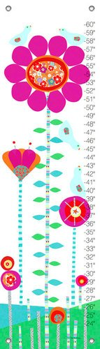 Oopsy Daisy Afternoon Gossip Pink and Red Growth Charts by Jen Christopher, 12 by 42-Inch