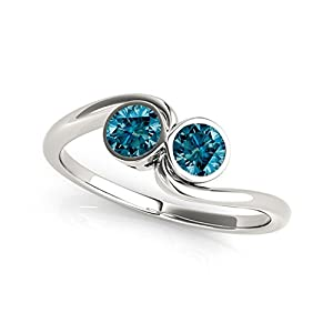 14k White Gold Round-cut Blue Diamond 2-Stone Ring (1 cttw, Blue, I1-I2 )