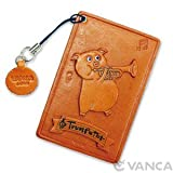 Pig with Trumpet Leather Animal PassIDCreditCard HolderCase VANCA Handmade in Japan