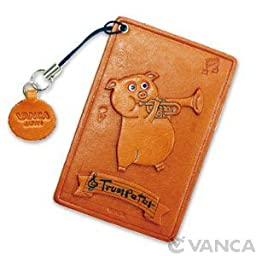 Pig with Trumpet Leather Animal Pass/ID/Credit/Card Holder/Case *VANCA* Handmade in Japan