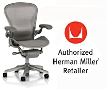 Hot Sale Herman Miller Aeron Chair Highly Adjustable with Lumbar Support Pad with C7 Hard Floor Casters - Medium Size (B) Titanium Smoke Light Frame, Wave Zinc Pellicle Mesh Home Office Desk Task Chair