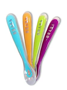Beaba First Stage Soft Spoons - Set of Four in Gipsy Color by Beaba